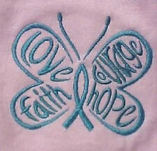 T Shirt Ovarian Cancer Teal Hope Courage Butterfly Pink M Crew Neck S/S New