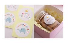36 x Happy Birthday stickers label seal Bonbonniere cartoon coloured party