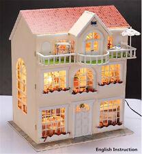 Wooden Miniature dolls house Doll house furniture DIY Kit-w /LED-Large Villa