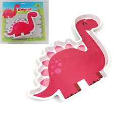 Children's Pink Diplodocus Dinosaur shaped Food Plate Kids Melamine Dining Bowl