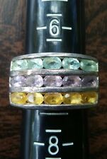 Pre owned STS Thailand sterling silver triple stone ring size 7.