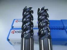 "LOT ( 2 ) SGS 32664 V-CARB SOLID CARBIDE 1/2"" 5 FLUTE END MILLS LATHE TOOLS BITS"