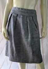 Talbots Skirt 10 Silver Sparkle Linen Metallic Polyamide Lined Pockets Pleats