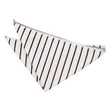 DQT Woven Single Stripe White & Black Formal Handkerchief Hanky Pocket Square