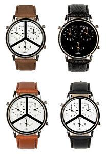 Frank Phillipe Men's Three Time Zone Leather Strap Analog Watch, Japanese Quartz