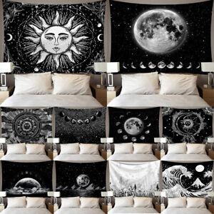 White Black Sun Moon Mandala Tapestry Wall Hanging Celestial Tarot Hippie Carpet