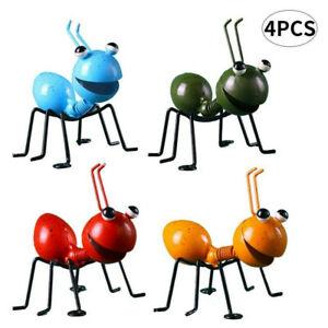 4PCS Garden Art Metal Sculpture Ant Ornament Cute Insect Art Garden Lawn Decor