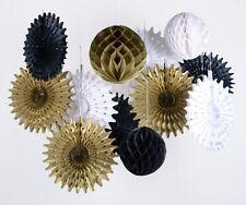 black white gold honeycomb ball fan for retirement wedding birthday anniversary