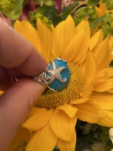 Turquoise And Diamond Starfish Sterling Silver Ring Size 8