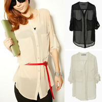 Lady Clothes See-through Long Sleeve Chiffon Shirts Blouse Tops T-shirts S/M/L
