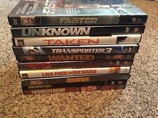ACTION MOVIE LOT - 10 DVD'S - FASTER, TAKEN, TRANSPORTER 3, 300, LIVE FREE OR DI