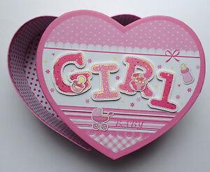 Baby Keepsake Boxes Boy Girl Blue Pink Heart Large Medium Small Box Gift Present