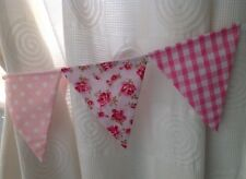 GIRLS PINK BUNTING CURTAIN TIE-BACKS -  ditsy flower, gingham, spot