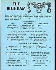 The Blue Ram Menu - Milford NH -  Featuring Pressure Fried Chicken 1960s