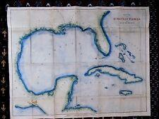1852 Andrews Straits Florida Gulf Mexico Antique Map Cuba Bahamas Bache America