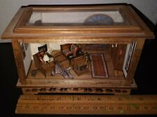 """Handcrafted Antique Dollhouse Miniatures Complete Room Display 1:48 (1/4"""") Scale"""