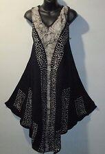 Dress Fits 1X 2X Plus Sundress Black White Batik Flared Tunic A Shaped NWT 7140