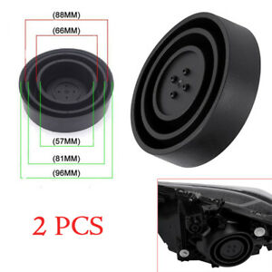 2X Universal Seal Cap Dust Cover 5 Sizes for Car Headlight LED HID Lamp Black
