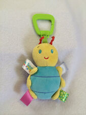 Taggies Bug Insect Rattle Plush Stroller Car Seat Clip On Toy Polka Dots Blue