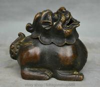 """4.8 """"Brûleur d'encens de la Dynastie Pixiu Lion Bone Bronze Bronze Chine"""