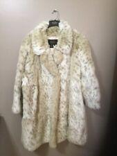 TERRY LEWIS Classic Luxuries 100% Faux Fur white snow leopard Coat 3X NWOT