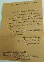 1931 11) GERUSALEMME : LETTERA DEL GRANDE POETA E DIPLOMATICO RUMENO MARCU BEZA