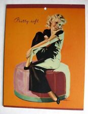 1940s Earl Moran Pin Up Girl Picture Flirty Blond on Chair Pretty Soft
