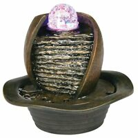 8'' Inch Indoor hand make Table Fountain with LED Light Earth Tone crystal ball