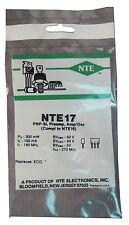"NTE17 Silicon PNP Transistor: Low Noise, Gen Purpose Amp: ""M"" Type Case: New"