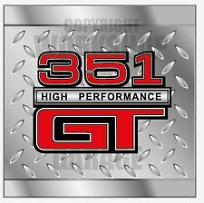 FORD  XY XW 351 HIGH PERFORMANCE GT CHECKER PLATE  LOOK  Decal  - Stickers