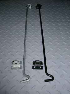 """Heavy Duty Extra Long Door Gate Cabin Hook & Eye 18"""" (450mm) Black or Galvanised"""
