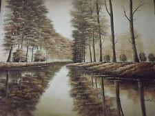 Peinture à l'Huile sur Toile - Forêt Britannique Automne - Sépia - Original