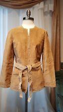 INC Tan  Suede Leather Tailored Coat Jacket Medium