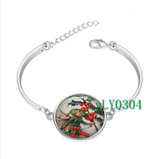Holly Fairy Christmas glass cabochon Tibet silver bangle bracelets wholesale