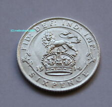 1914 King George V Silver Sixpence British English 92.5% (Sterling) silver