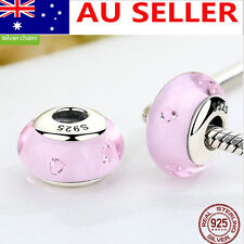 S925 Solid Sterling Silver European Pink Murano Glass Charm bead 6#