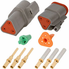 w/ 20-16 Awg Gold Solid Contacts Deutsch Dt 3 Pin Gray Connector Kit