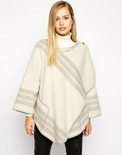 NEW Karen Millen Wrap Asymmetric Striped Cape Jacket Cream Grey Size 16 44 Coat