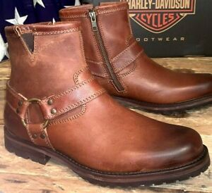 HARLEY DAVIDSON MEN SIZE 7 M SIDE ZIP MOTORCYCLE BROWN NEW BOOT MOSBY D93533