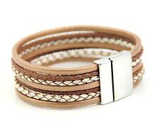 Metallic Gold Multi Strands Genuine Leather Bracelet Magnetic Clasp UK