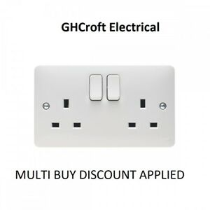 Hager Sollysta 13 Amp 2 Gang Double Pole Switched Socket - Box of 5 - MULTI BUY