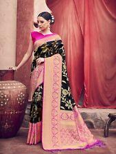 Indian Saree & Blouse Sari Designer Ethnic Black Woven Banarasi Art Silk -S2061