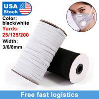 125/200 Yards Length  DIY Braided Elastic Band Cords Knit Band Sewing 1/8 1/4 US