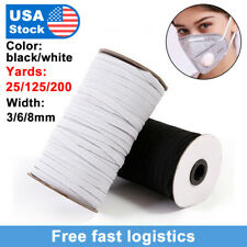 DIY 125/200 Yards Length Braided Elastic Bands Cords Knit Band Sewing 1/8-1/4 in
