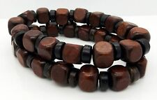"Brown Cube Wood Beads Bracelets Coconut 2pcs 7.5"" Stretchy Wristbands By TaKuKai"