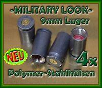 😊4x KFZ Tuning Design Ventilkappen -MILITARY- Patronen Stahl 9mm Polymer Hülsen