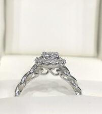 14K White Gold Halo Style Diamond Cluster Engagement Wedding Ring