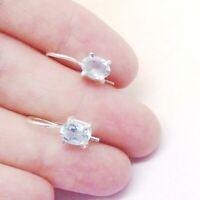 Blautopas blau schlicht oval Design Ohrringe Ohrhänger 925 Sterling Silber neu