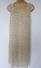 NEXT BNWT Vintage summer beige floral print crochet back crinkle tunic dress 6