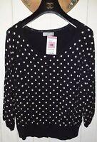 M&S UK 22 Black Spotty Dotty Scoop Neck Stretchy Cardigan Balloon 3/4 Sleeves